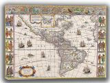 Blaeu, Willem: Map of the Americas. Antique/Vintage 17th Century Map. Fine Art Canvas. Sizes: A4/A3/A2/A1 (003870)